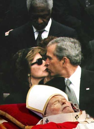 bush laura kiss pope ... don't have to stop drinking to get pregnant, you just can't drink a lot.